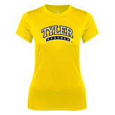 Ladies Syntrel Performance Gold Tee-Tyler Apaches Arched