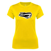 Ladies Syntrel Performance Gold Tee-Apache Head