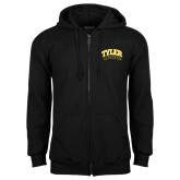 Black Fleece Full Zip Hoodie-Tyler Apaches Arched