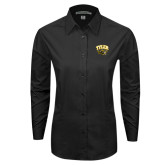 Ladies Black Tonal Pattern Long Sleeve Shirt-Official Logo