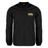V Neck Black Raglan Windshirt-Tyler Apaches Arched
