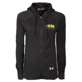 Ladies Under Armour Black Varsity Full Zip Hoodie-Tyler Apaches Arched