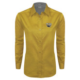 Ladies Gold Twill Button Down Long Sleeve-Official Logo