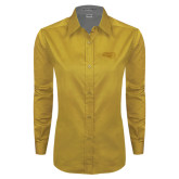 Ladies Gold Twill Button Down Long Sleeve-Apache Head