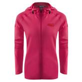 Ladies Tech Fleece Full Zip Hot Pink Hooded Jacket-Apache Head