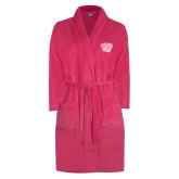 Ladies Pink Raspberry Plush Microfleece Shawl Collar Robe-Official Logo