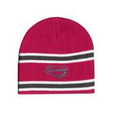 Pink/Charcoal/White Striped Knit Beanie-Apache Head