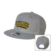 Heather Grey Wool Blend Flat Bill Snapback Hat-Tyler Apaches Arched