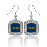 Crystal Studded Square Pendant Silver Dangle Earrings-UC DAVIS