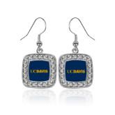 Crystal Studded Square Pendant Silver Dangle Earrings-UC DAVIS