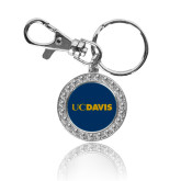 Crystal Studded Round Key Chain-UC DAVIS