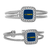 Crystal Studded Cable Cuff Bracelet With Square Pendant-UC DAVIS