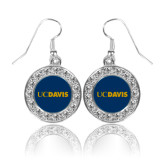 Crystal Studded Round Pendant Silver Dangle Earrings-UC DAVIS