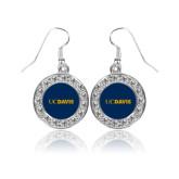 Crystal Studded Round Pendant Silver Dangle Earrings-UC DAVIS