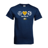 Navy T Shirt-Soccerball Just Kick It