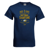 Navy T Shirt-Back-to-Back Division 1AA National Champions Mens Rugby