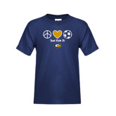 Youth Navy T Shirt-Soccerball Just Kick It