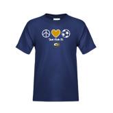 Youth Navy T Shirt-Soccerball Just Kick It