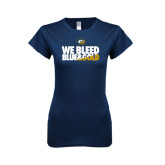 Next Level Ladies SoftStyle Junior Fitted Navy Tee-We Bleed