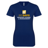 Next Level Ladies SoftStyle Junior Fitted Navy Tee-Graduate School of Management Stacked