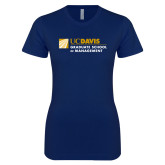 Next Level Ladies SoftStyle Junior Fitted Navy Tee-Graduate School of Management Flat
