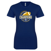 Next Level Ladies SoftStyle Junior Fitted Navy Tee-2018 Big Sky Conference Champions