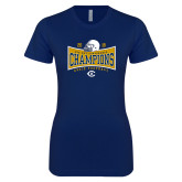 Next Level Ladies SoftStyle Junior Fitted Navy Tee-2018 Football Conference Champions