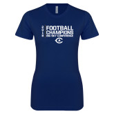 Next Level Ladies SoftStyle Junior Fitted Navy Tee-2018 Big Sky Football Champions