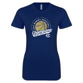 Next Level Ladies SoftStyle Junior Fitted Navy Tee-2019 Womens Basketball Big West Champions