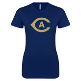 Next Level Ladies SoftStyle Junior Fitted Navy Tee-Secondary Athletics Mark