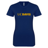 Next Level Ladies SoftStyle Junior Fitted Navy Tee-UC DAVIS