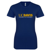 Next Level Ladies SoftStyle Junior Fitted Navy Tee-UC DAVIS U of C