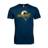 Next Level SoftStyle Navy T Shirt-Go Ags Logo