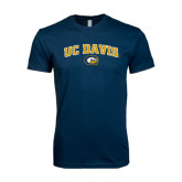 Next Level SoftStyle Navy T Shirt-Arched UC Davis Logo
