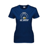 Ladies Navy T Shirt-Basketball Stacked