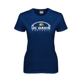 Ladies Navy T Shirt-Football Horizontal