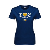 Ladies Navy T Shirt-Soccerball Just Kick It