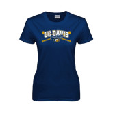 Ladies Navy T Shirt-Baseball Crossed Bats