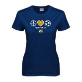 Ladies Navy T Shirt-Soccerball Just Kick It