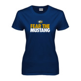 Ladies Navy T Shirt-Fear The
