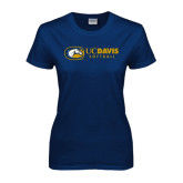 Ladies Navy T Shirt-Softball Logo Flat