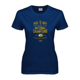 Ladies Navy T Shirt-Back-to-Back Division 1AA National Champions Mens Rugby