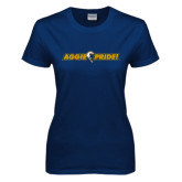 Ladies Navy T Shirt-Aggie Pride