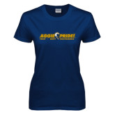 Ladies Navy T Shirt-Aggie Pride w/ Tagline
