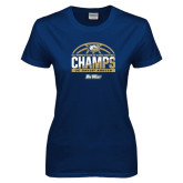 Ladies Navy T Shirt-Big West Conference 2017 Regular Season Womens Basketball Champs