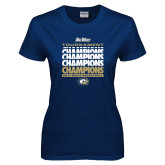 Ladies Navy T Shirt-Big West Mens Basketball Tournament Champions