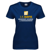 Ladies Navy T Shirt-Graduate School of Management Stacked