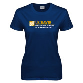 Ladies Navy T Shirt-Graduate School of Management Flat