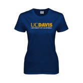 Ladies Navy T Shirt-UC DAVIS U of C