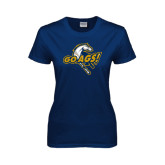 Ladies Navy T Shirt-Go Ags Logo